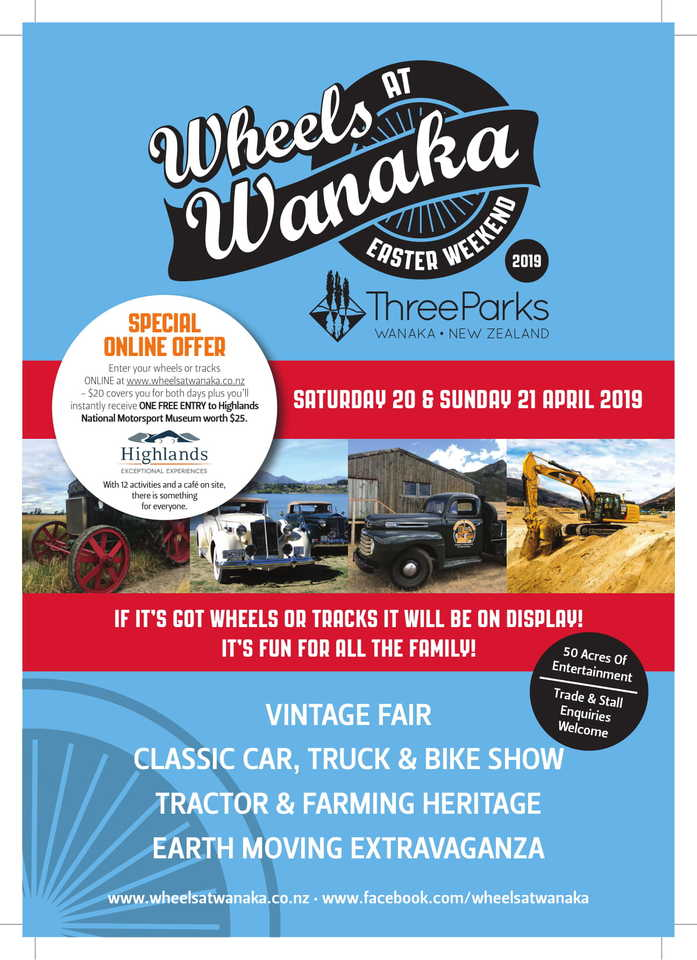 Easter 2019 Join us for Wheels at Wanaka